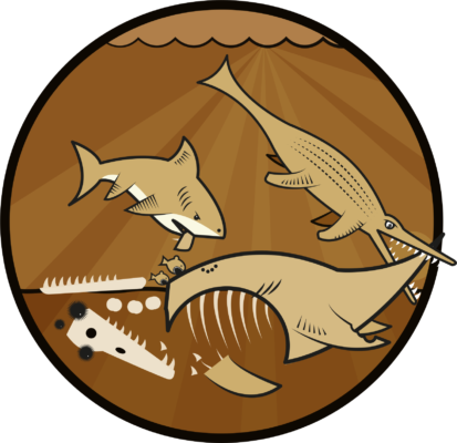 illustration of a shark and crocodile eating a pliosaurus carcass