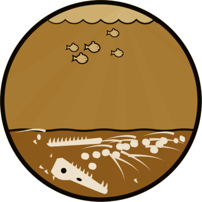 illustration of a pliosaurus skeleton on the sea bed