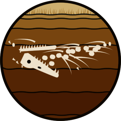 illustration of pliosaurus bones within layers of sediment under the sea