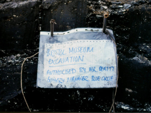 a paper sign in a plastic folder reads 'bristol museum excavation'