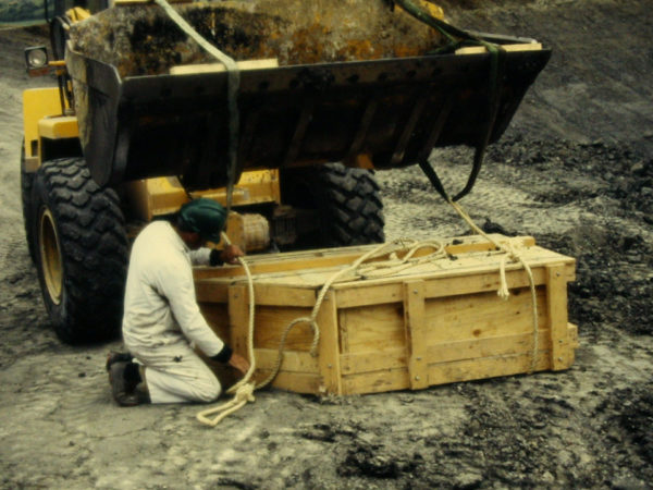 a yellow tractor arrives to pick up the large crate with the pliosaurus fossil in it. a man in a white boiler suit crouches down next to the crate