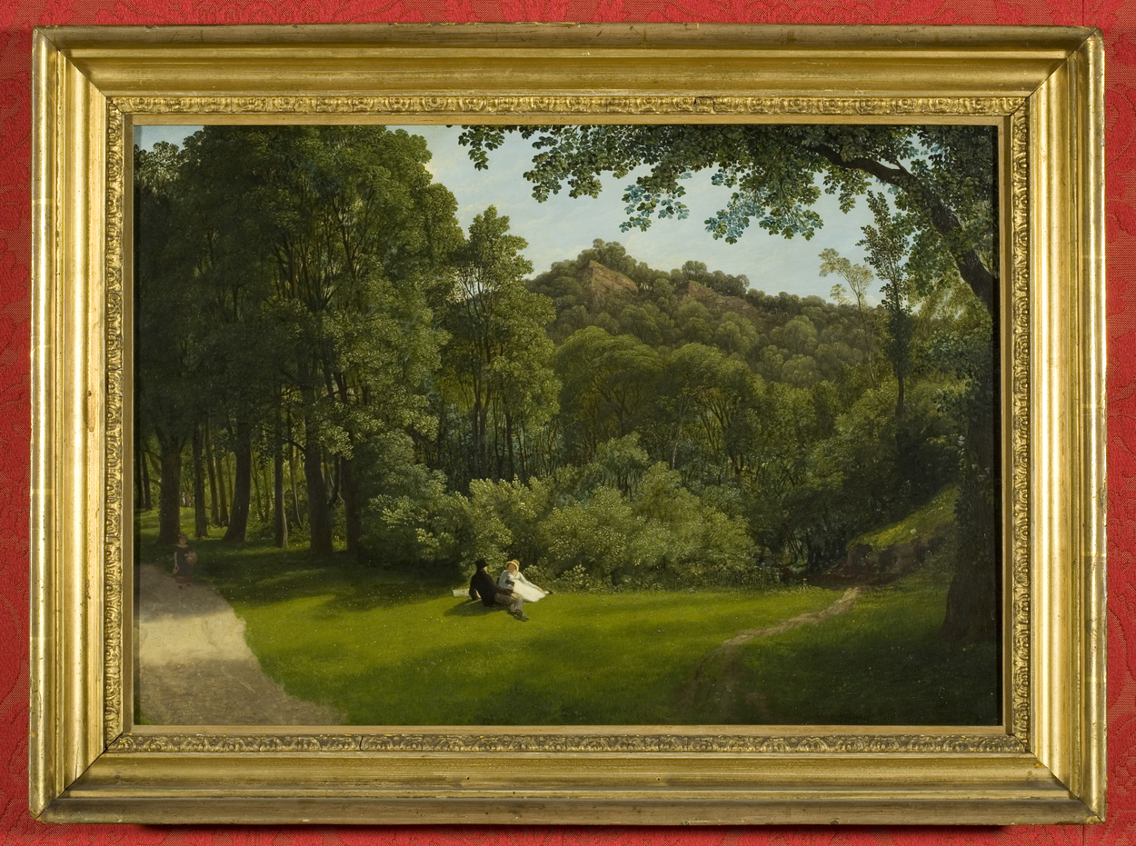 Painting of woodland scene with couple