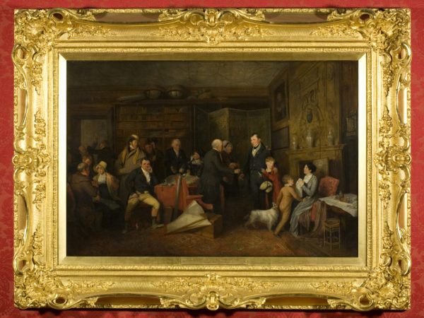 Painting of an interior crowd scene