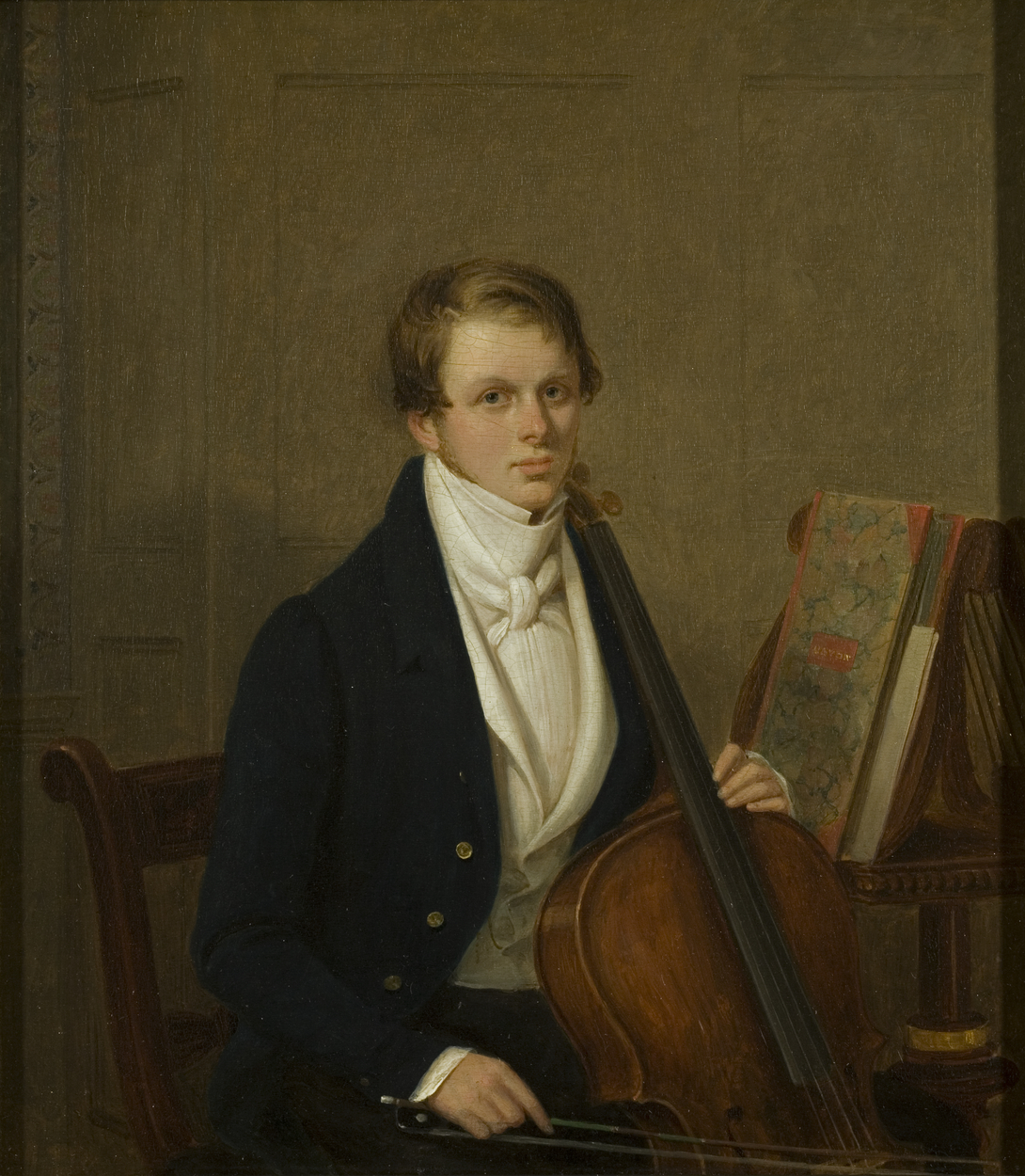 Painting of man with cello