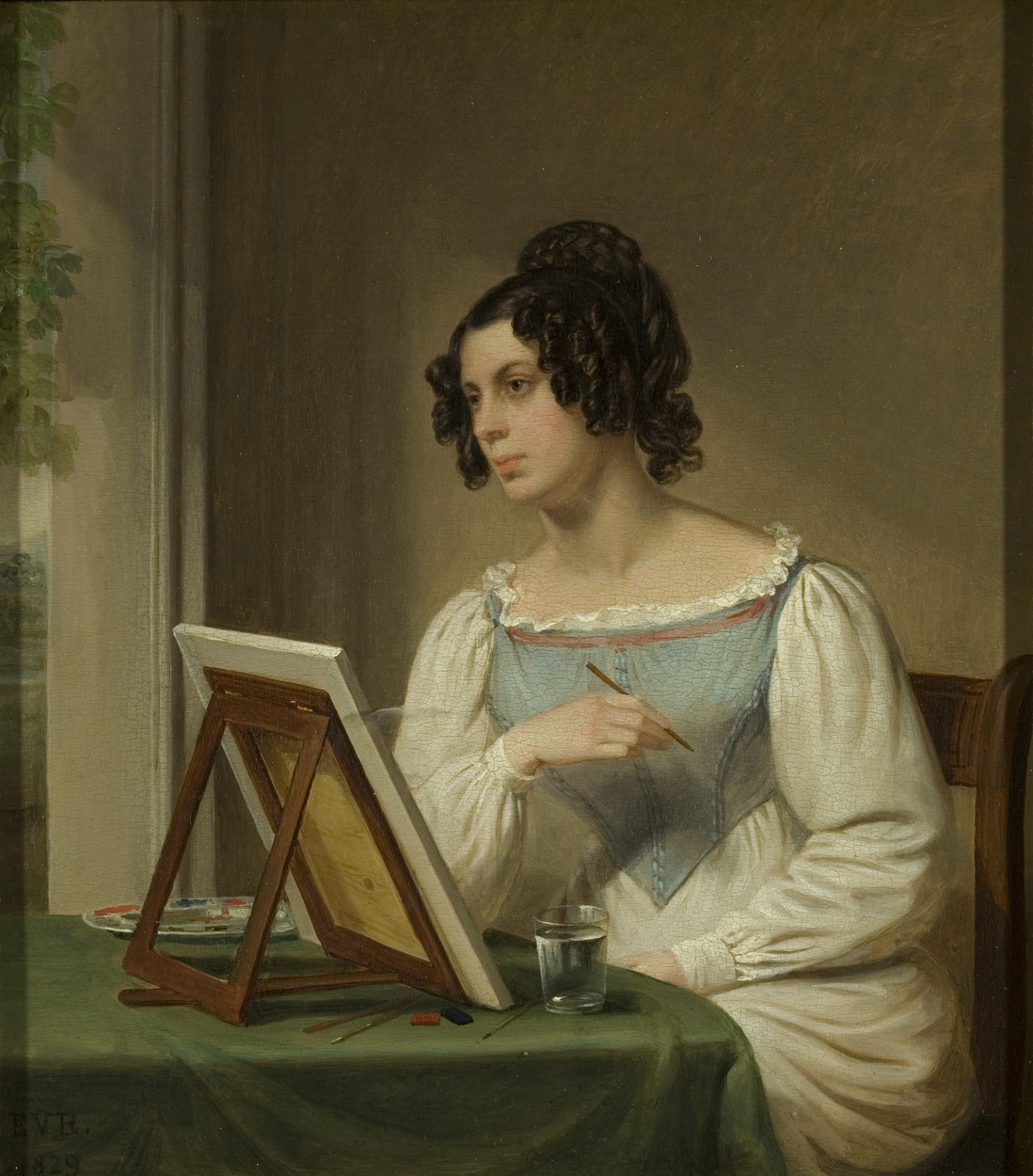 Painting of woman drawing