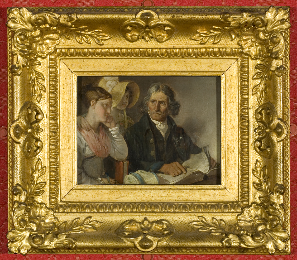 Painting of man reading to woman