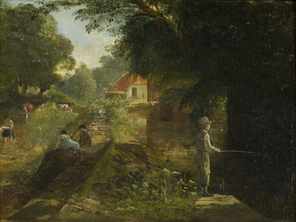 Painting of boy fishing