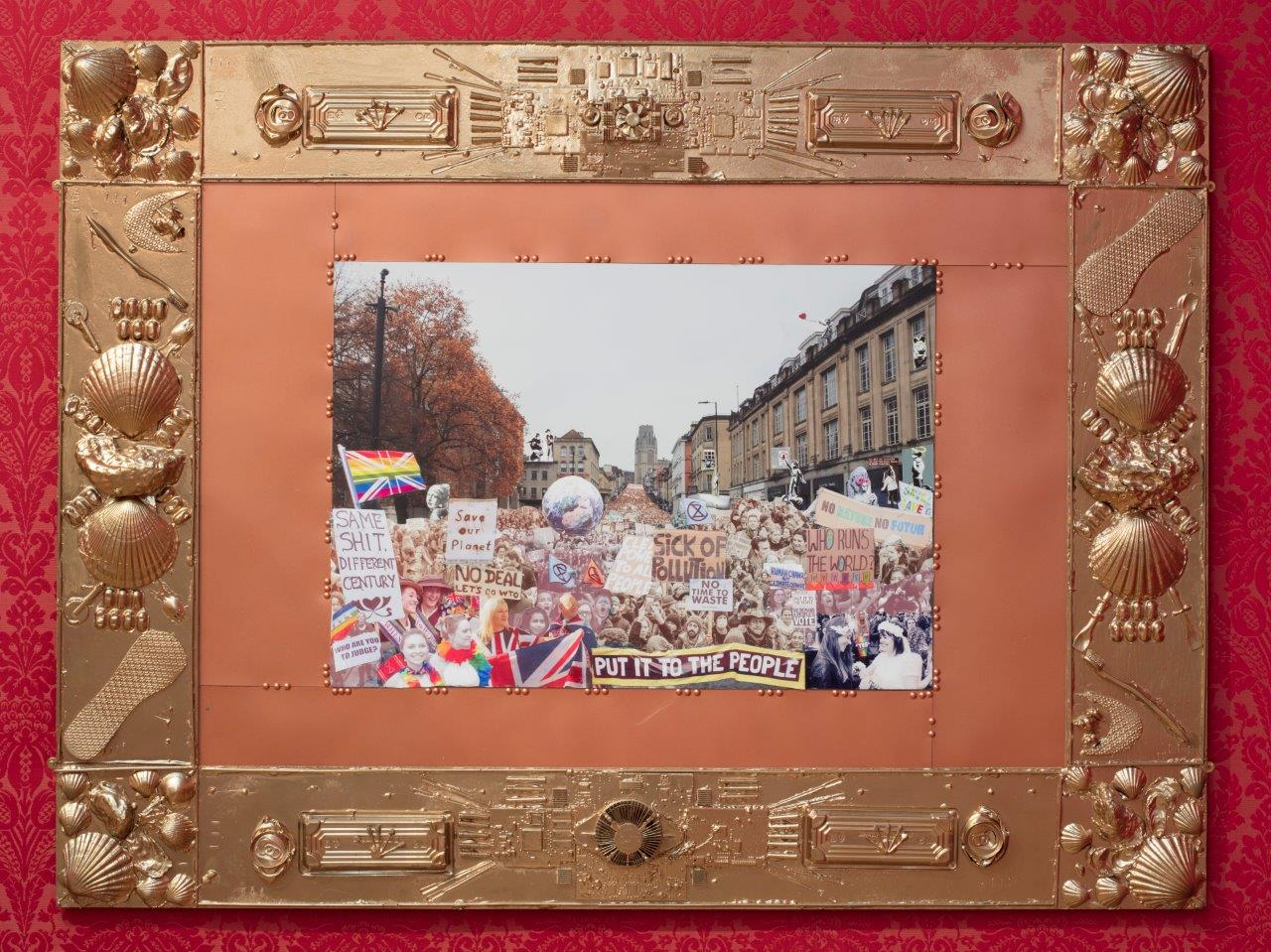 Collage of political protest on Park St, Bristol