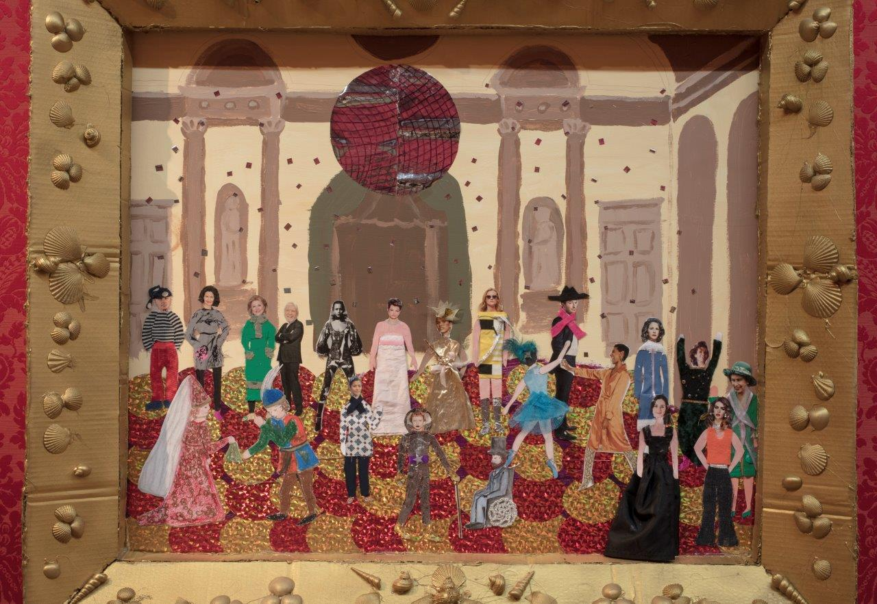Painting and collage of party in historic ballroom