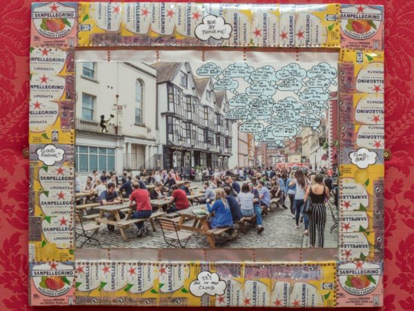 Collage of Bristol pub scene in frame made from cans