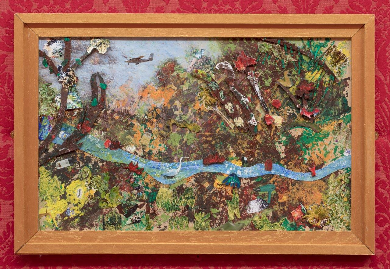Colourful painting of a river and trees