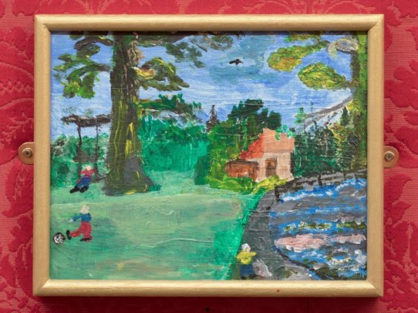 Painting of a tree and children playing beside river
