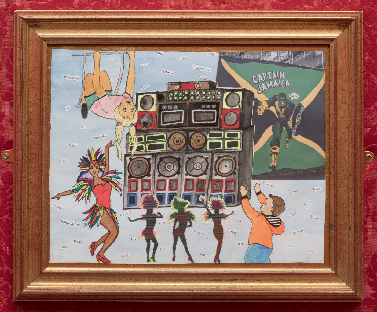 Painting of children and dancers in front of sound system in St Pauls, Bristol