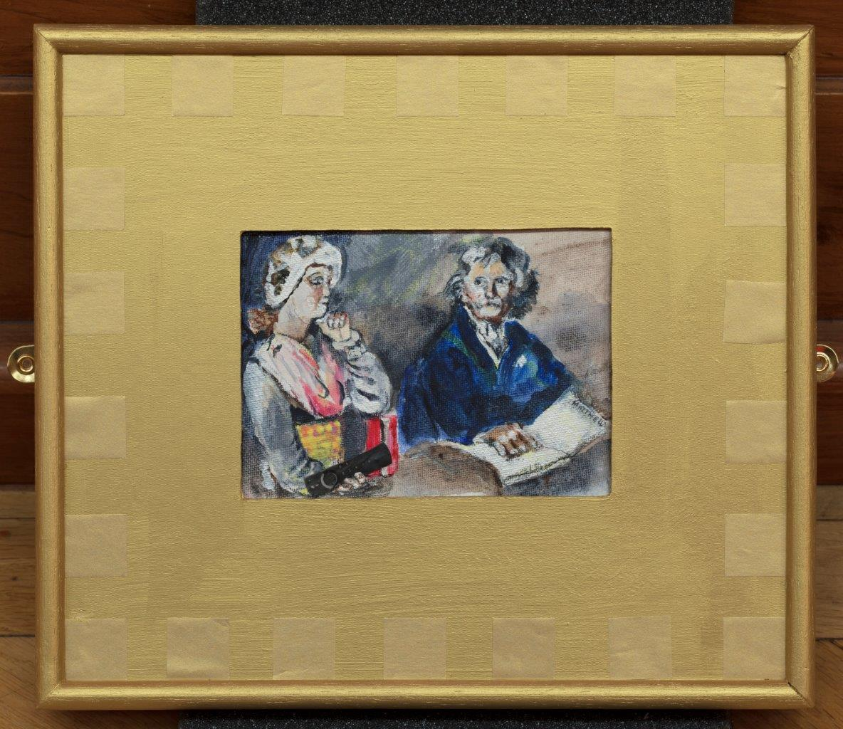 Painting of a man reading while a woman listens to music