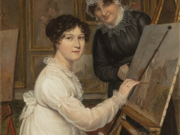 Painting of Rolinda Sharples painting with mother watching
