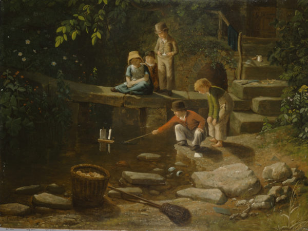 Painting of children playing by stream