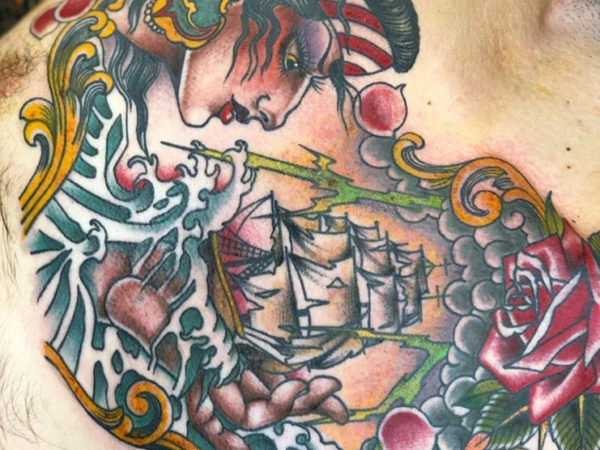 Emilio's ship chest tattoo in a classic sailor style