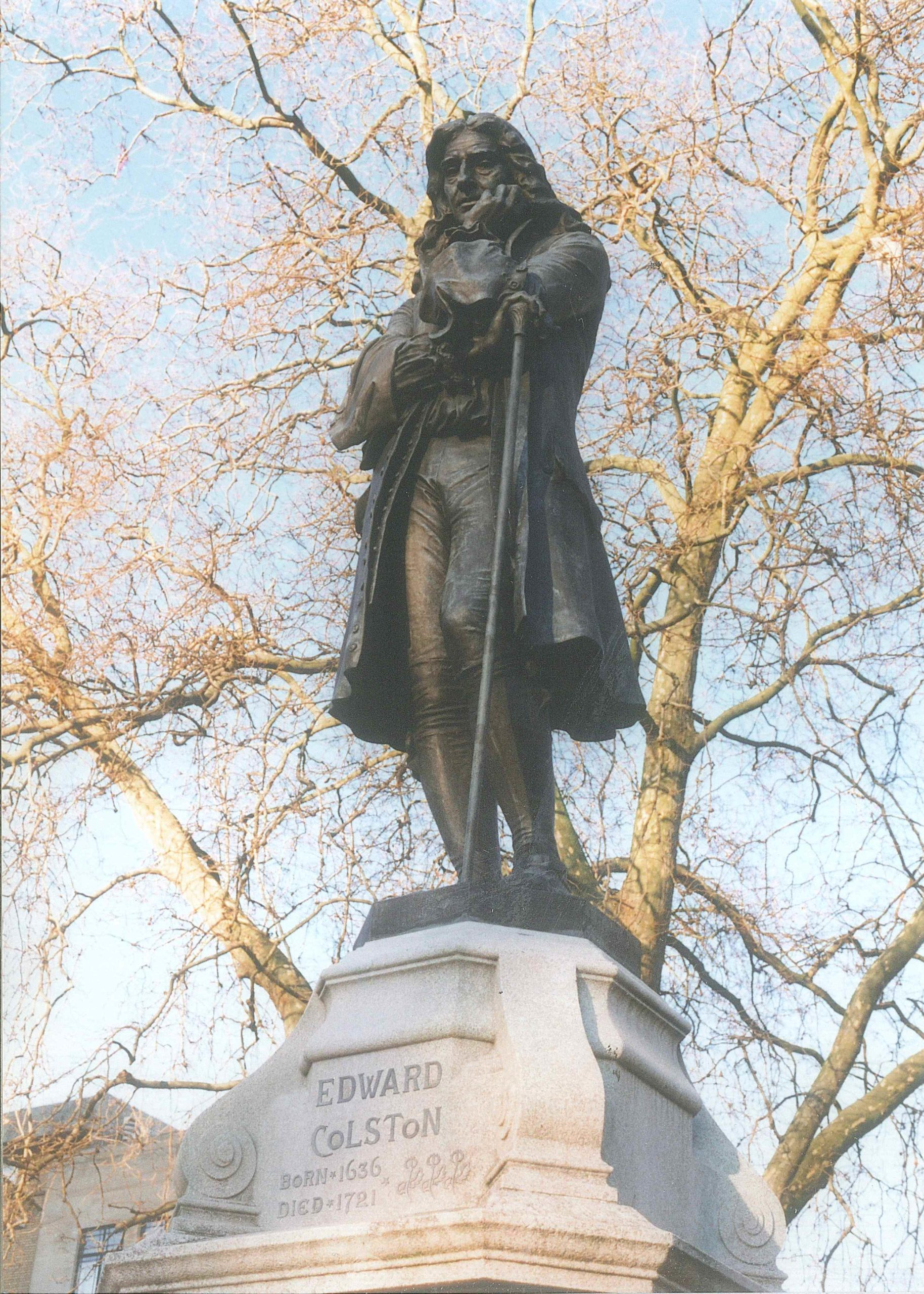 Picture of the statue of Edward Colston on statue plinth in Bristol