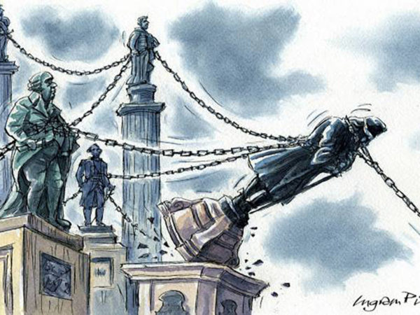 Cartoon of statues of men on plinths, chained together. The statue of Edward Colston is being pulled down by hands in the bottom right corner of the image.