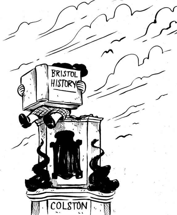Black and white cartoon drawing of a small girl on the empty statue plinth of Colston, reading a book called 'BRISTOL HISTORY'.