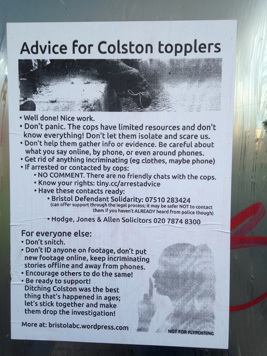 'Advice for Colston topplers' poster.