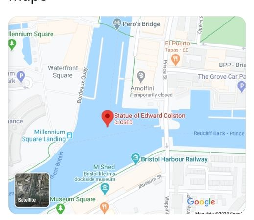 Screenshot of an anonymised Twitter post. 'Edward Colston's statue has already been relocated on Google Maps'. Map shows 'Statue of Edward Colston' to be 'closed' and in the harbour. 10.8K retweets.