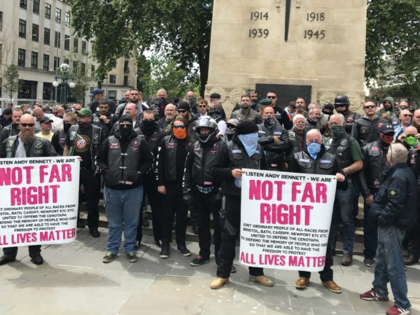 Photo of 'All lives matter' protesters, stood around the Bristol Cenotaph.