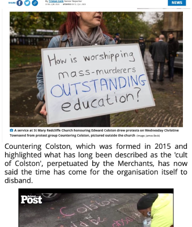 Press coverage of Countering Colston's campaign to disband the Merchant Venturers, July 2020 (© Bristol Post)