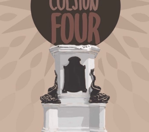 Beige, brown, white and grey poster design. 'SUPPORT THE COLSTON FOUR'/ 9.30AM Bristol Magistrates Court/ Monday 25th Jan 2021'.